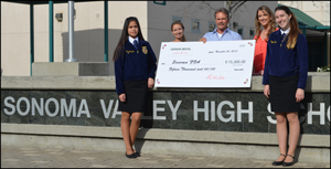Steve presenting check to members of the Sonoma FFA